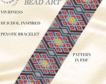 Peyote Pattern for bracelet - Huichol inspired colourful peyote bracelet cuff pattern in PDF - instant download - Vividness