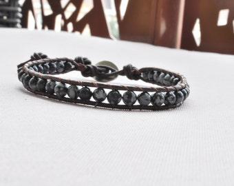 Mens leather • KOLKO • leather wrap bracelet & Obsidian