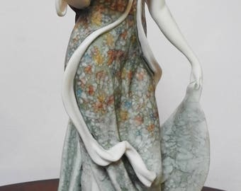 Rare Giuseppe Armani Florence Lady with Flower's Hat Basket 1991 14""