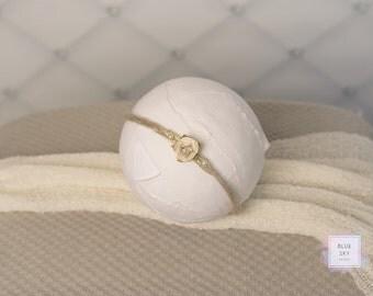 Neutral Newborn Tieback, Grey Baby Headband, Photo Prop