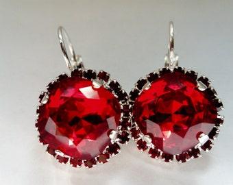 swarovski red crystal earrings