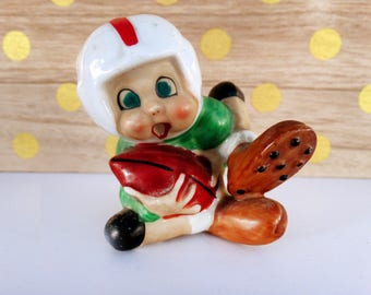 Vintage Football Player in Green Jersey Figurine Made in Japan