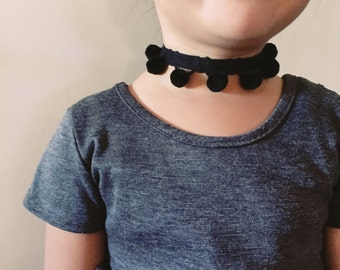 Toddler/Kids Black PomPom Choker