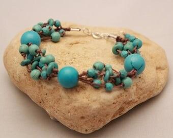 Multistrand beaded bracelet,Turquoise beaded bracelet, Boho multistrand bracelet