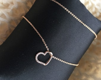 Rose Gold Heart Necklace with small zircon diamond decoration, thin chain, gift for her, super cute necklace, great quality