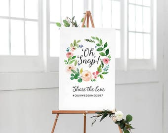 Printable wedding sign, Wedding Oh snap sign, Floral hashtag sign, Calligraphy Floral social media sign, Wedding Hashtag sign, Hashtag sign