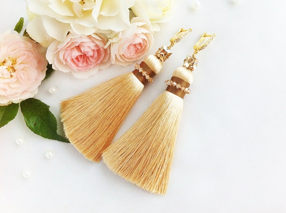 Beige gold tassel earrings, long pastel silk tassel lever back earrings, Swarovski crystals embroidered large statement jewelry, embroidery
