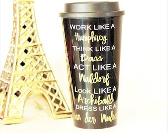 gossip girl,travel mug, travel coffee mug, cute coffee mug, quote coffee mug, coffee mug, to-go coffee mug, tumbler, tumblers, boss lady