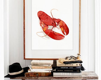 Lobster Water Color Art Prints, Red Lobster, Coastal Wall Decor Seafoods  Art Print,