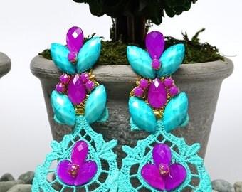 Wedding Earrings, Long Turquoise Earrings, Colorful Earrings, Bridesmaid Earrings, Bohemian Jewelry, Drop Dangle Earrings, Handmade Earrings