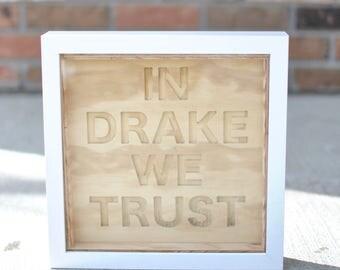 plywood carved sign + frame | drake | words