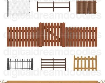 Fence Clipart, Gate Clip Art, Picket Fence Image, Gate Door Graphic, Chain Link Fences Picture, Wooden Fencing Scrapbook, Digital Download