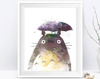 Totoro Art Print Watercolor Studio Ghibli My Neighbor Totoro Japan Miyazaki Anime Manga Geek TV Nursery Decor Gift For Mom Digital Download