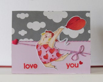 Love card - Valentine card - Blank double greeting card - Hand colored - Main card color is red