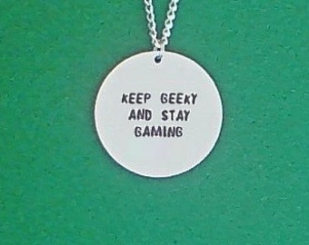 necklace- gamer necklace- keep geeky and stay gaming- geek necklace