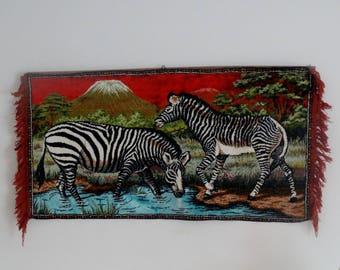 Woven wall hanging velvet tapestry vintage wild animal decoration zebra wall art tufted velvet wall hanging art Vintage