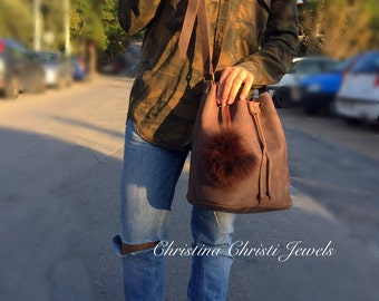 Leather Shoulder Bag - Leather Bucket Bag, Leather Bucket Purse, in Dark Brown Color with a Brown Fur Pom Pom, Made in Greece.