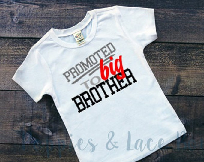 Promoted To Big Brother Tee, Big Brother Shirt, Pregnancy Reveal, Brother T-shirt, New Baby Announcement