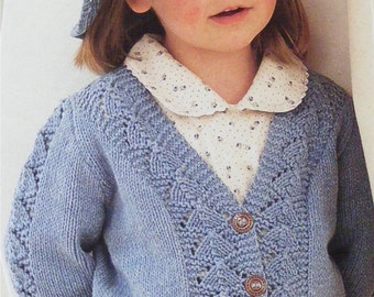 Girls Cardigan PDF Knitting Pattern : Childrens and Toddlers 20, 22, 24, 26, 28 and 30 inch chest . Lacy Patterned . Digital Download