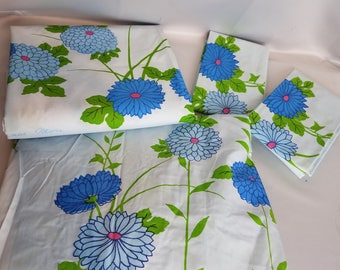 Factory Folds! Vintage King Size Martex Hanae Mori Blue Zinnias Entire Sheet Set: Fitted, Flat, and 2 Pillowcases