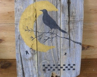 Crow Moon & Stars Painting on Reclaimed Wood Wall Art Country Primitive Farmhouse Weathered Rustic Decor Folk Art