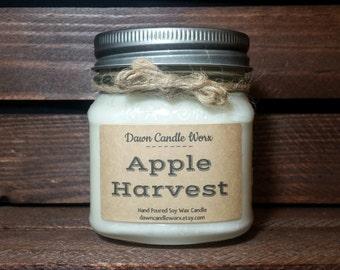 8oz Mason Jar Candles -  Soy Candles Handmade - Scented Soy Candles - Fall Candle - Country Candles - Homemade -   Apple Harvest