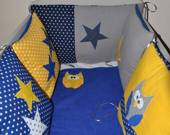 Round bed baby, roy blue, yellow, grey