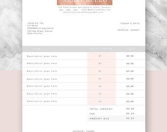 Invoice, Template, Business, Forms, Stationary, Document Template, Photoshop, Editable, Customisable, Premade, Design, Rose Gold, Copper
