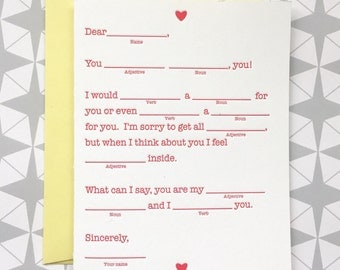 Mad Libs Style Anniversary Card