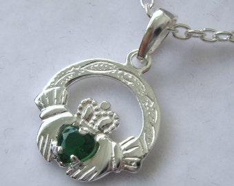 Genuine SOLID 925 STERLING SILVER Emerald Irish Claddagh Love Friendship Pendant