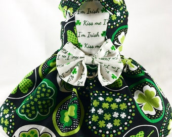 Dog Dress, Dog Clothing, Dog Apparel, Dog St. Patricks Dress--Kiss Me