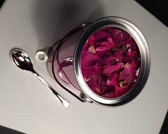 VANITY Hot Pink Fizzing Bath Salts with dried rose petals