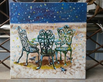 """Original canvas painting """"Snowy cityscape"""", chairs and table in the snow, lonely chairs, calm snowy view, art on canvas, winter cityscape"""