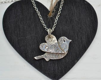 Mothers day gifts, Handmade Fine Silver Heart Winged Bird Pendant Necklace, heart necklace, silver heart, wedding jewellery, bridesmaids