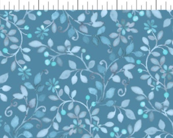 By The HALF YARD - Brianna by Gray Sky Studio for In The Beginning, Pattern #5GSB2 Small Tonal Teal Vines and Flowers on Blue