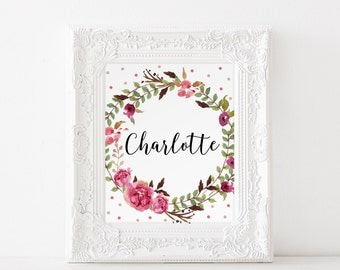Floral Name Decor, Charlotte Name, Nursery Charlotte Art, Personalized Gift, Baby Girl Name Print, Custom Name Charlotte, Kidds Room Decor