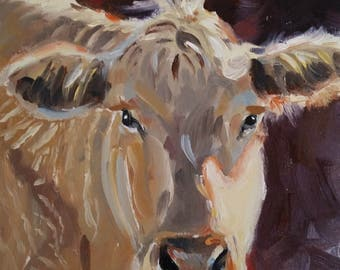 Cow Painting, Original Oil Painting 5X5 on cradled wood
