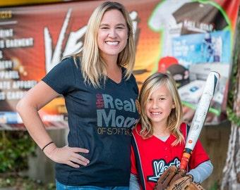 The Real Moms of Softball Rhinestone V Neck