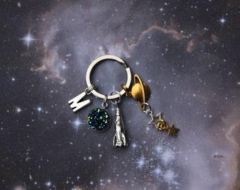 Space keyring Rocket keychain planet keyring bag charm space bag charm kids keyring personalised keyring initial space bag charm