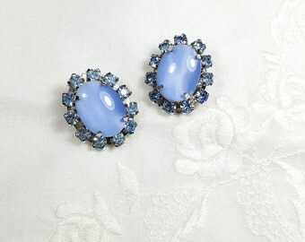 BLUE MOONGLOW EARRINGS Clip on Rhinestone Earrings Retro Fashion Blue Earrings Vintage Jewelry Earrings
