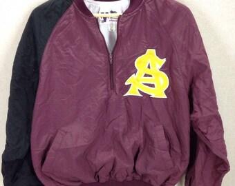 Vintage ASU Sun Devils Baseball Team Worn Dugout Jacket Sz Lg Stitched Logos