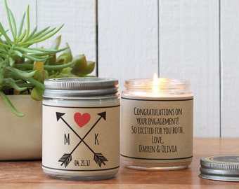 Arrow with Initials Soy Candle Gift - Personalized Wedding Gift | Engagement Gift | Anniversary Gift | Save The Date |