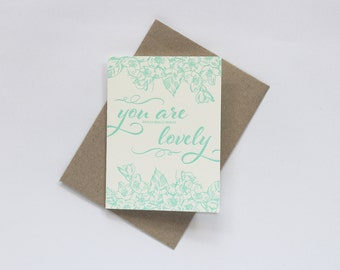 SALE to make way for new stock: Letterpress You Are Really Really Really Lovely Greeting Card | Thank You |  in Blue / Green / Mint