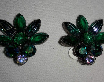 Emerald Green Rhinestone With Aurora Borealis Stones Silver Plated Vintage Clip Earrings