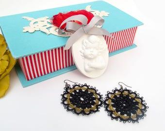 Black lace earrings, Statement Jewelry, Gypsy Earrings, Big Earrings, Tatting Earrings, Crochet earrings, Frivolite Jewelry, Bold Earrings