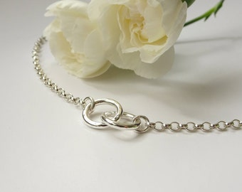 Silver Ring Bracelet - Silver Two Circle Bracelet - Linked Ring Bracelet -Friendship Bracelet - Silver Chain Bracelet