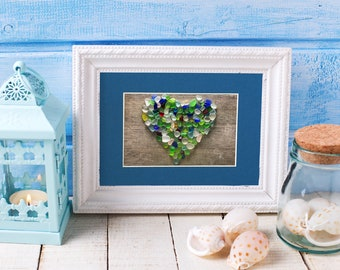 """Sea Glass Heart on Wood Matted Print - 8x10"""" mat with 5x7"""" seaglass mosaic print"""