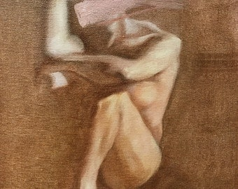 figure study (painting): pink