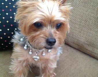 Rhinestone Pet Collar, Dog Collar Heart, Pearl Pet Jewelry, Custom Pet Collar, Dog Collar Bling, Pet Collar Necklace, Charm Pet Collar, Dogs