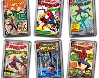 """SILVER AGE Comic Book Cover Magnets - Acrylic 2""""x3"""" Refrigerator Magnets - SPIDERMAN - Ditko Cover Artwork - Series #1"""